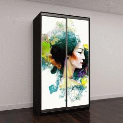 """Шкаф купе с фотопечатью """" Абстрактная картина с азиатской женщиной и цветовой всплеск"""""""