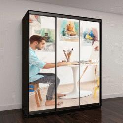 """Шкаф купе с фотопечатью """"Молодой мужчина художник рисует картину в студии"""""""
