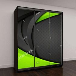 """Шкаф купе с фотопечатью """"Зеленый и черный контраст, фон """""""