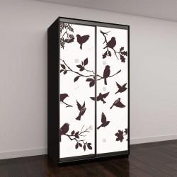 """Шкаф купе с фотопечатью """"Векторный набор птиц и веточек"""""""