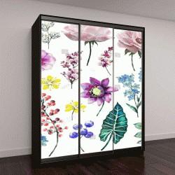 """Шкаф купе с фотопечатью """"листья, ветки, цветы на белом фоне"""""""