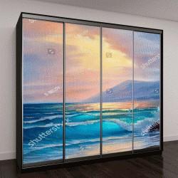 """Шкаф купе с фотопечатью """"Утро на море, волна, иллюстрация, картина маслом на холсте"""""""