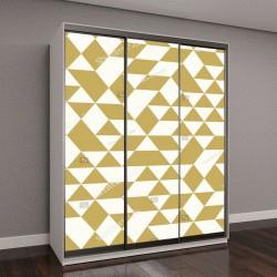 """Шкаф купе с фотопечатью """"Геометрический узор с белыми и золотыми треугольниками"""""""