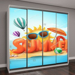 """Шкаф купе с фотопечатью """"Лето понятие вектора баннер дизайн 3D текста в пляж острова с летними элементами и шарами на фоне голубого неба"""""""