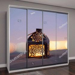 """Шкаф купе с фотопечатью """"Традиционный арабский фонарь с горящей свечой в пустыне """""""