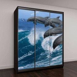 """Шкаф купе с фотопечатью """"Четыре красивых дельфина прыгают над волнами"""""""