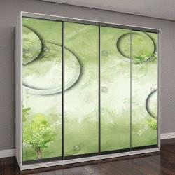 """Шкаф купе с фотопечатью """"3D зеленый круги с зелеными деревьями текстуры фона стены"""""""