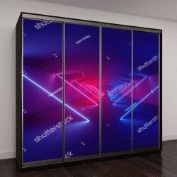 """Шкаф купе с фотопечатью """"3D визуализация, лазерное шоу, Ночь интерьер клуба огни, светящиеся линии, абстрактный люминесцентные фон, коридор"""""""