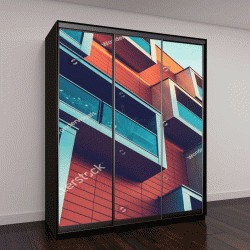 """Шкаф купе с фотопечатью """"дом со стеклянными балконами"""""""