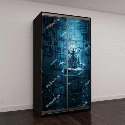 """Шкаф купе с фотопечатью """"3D иллюстрация космонавта в позе лотоса под лучом света"""""""