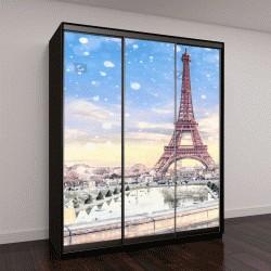"""Шкаф купе с фотопечатью """"Вид на Эйфелеву башню в Париже на Рождество, Франция"""""""