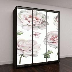 """Шкаф купе с фотопечатью """"акварельные элементы: розы, пионы, цветы, листья, ветки"""""""