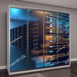 """Шкаф купе с фотопечатью """"серверная комната с узловым элементом """""""