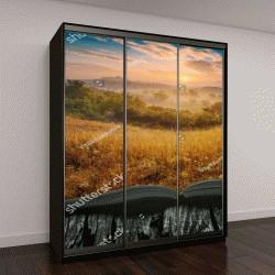 """Шкаф купе с фотопечатью """"Летние туманные долины в свете восхода """""""