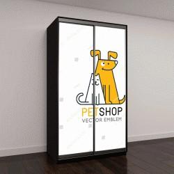 """Шкаф купе с фотопечатью """"Вектор шаблон дизайна логотипа для зоомагазинов, ветеринарных клиник и бездомных животных приюты - моно иконки линии кошек и собак - значки для сайтов и печати"""""""