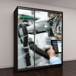 """Шкаф купе с фотопечатью """"Система мониторинга на производстве с помощью ноутбука"""""""