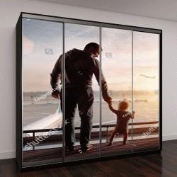 """Шкаф купе с фотопечатью """"отец и сын в аэропорту смотрят на летящий самолет на закате"""""""