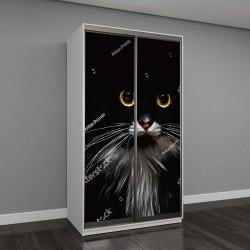 """Шкаф купе с фотопечатью """"черный кот с желтыми глазами"""""""
