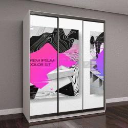 """Шкаф купе с фотопечатью """"Абстрактные креативные шаблоны жидкость, карт, цвет обложки набора"""""""