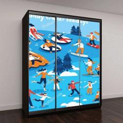 """Шкаф купе с фотопечатью """"коллекция декоративных значков с людьми, занимающимися зимними видами спорта"""""""