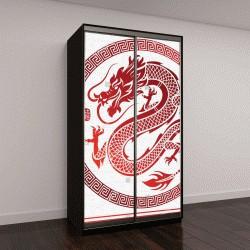 """Шкаф купе с фотопечатью """"традиционный китайский дракон в узорном круге"""""""