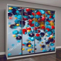 """Шкаф купе с фотопечатью """"3D абстрактные красочные композиции из тетраэдров"""""""
