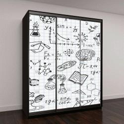 "Шкаф купе с фотопечатью ""рисунки от руки, тема биологии, математики, физики, химии"""