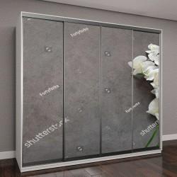 """Шкаф купе с фотопечатью """"Белый цветок орхидеи на сером текстурированном фоне"""""""
