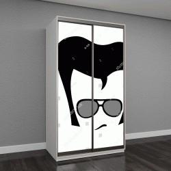 """Шкаф купе с фотопечатью """"3 ноября 2017 года: Elivs Пресли, обаятельный и холодный человек с ретро модные солнцезащитные очки, стрижку и прическу"""""""