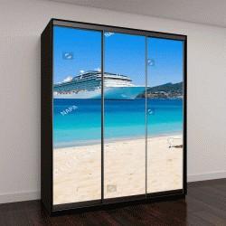 """Шкаф купе с фотопечатью """"Круизное судно в Карибском море с шезлонгами на белом песчаном пляже"""""""