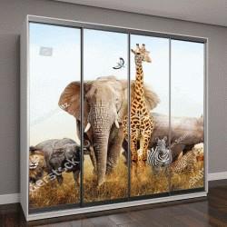 """Шкаф купе с фотопечатью """"Большая группа африканских животных в Кении"""""""