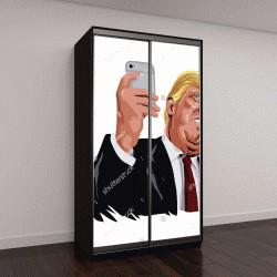 """Шкаф купе с фотопечатью """"Дональд Трамп и социальных медиа вектор портрет шарж карикатура Иллюстрация"""""""