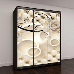 """Шкаф купе с фотопечатью """"3D цветы фон с кругом обои для стен"""""""