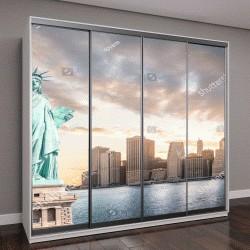 """Шкаф купе с фотопечатью """"Статуя Свободы в Нижнем Манхэттене вечером, на закате"""""""
