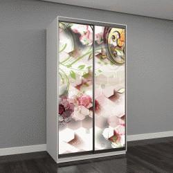 """Шкаф купе с фотопечатью """"3D цветы обои абстракция для стен"""""""