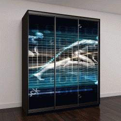 """Шкаф купе с фотопечатью """"3D визуализация бегущих мужчин"""""""