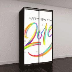 """Шкаф купе с фотопечатью """"2019 Новый год красочным мазком масляной или акриловой краской литерности каллиграфии элемент дизайна"""""""