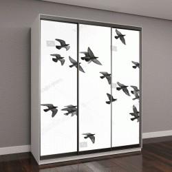 """Шкаф купе с фотопечатью """"Много птиц, летящих в небе"""""""