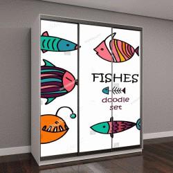 """Шкаф купе с фотопечатью """"Симпатичные рыбы мультфильм"""""""