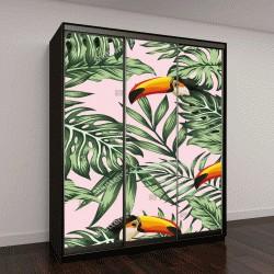 """Шкаф купе с фотопечатью """"Экзотические тропические зеленые джунгли, пальмы с Туканами"""""""