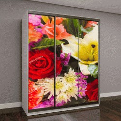 """Шкаф купе с фотопечатью """"красочные букеты цветов """""""