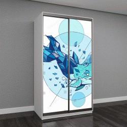 """Шкаф купе с фотопечатью """"Векторная иллюстрация Синий кит на белом фоне"""""""