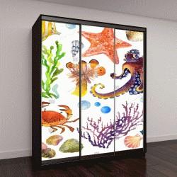 """Шкаф купе с фотопечатью """"экзотические рыбы, коралловые рифы, водоросли"""""""