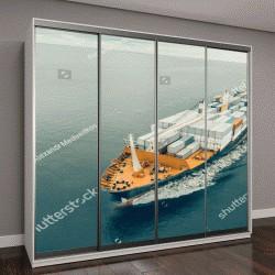 """Шкаф купе с фотопечатью """"Вид с воздуха на грузовой корабль, плывущий в открытом море"""""""
