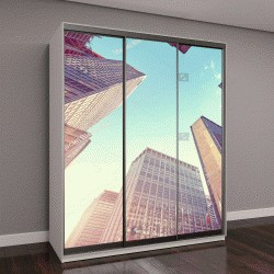 """Шкаф купе с фотопечатью """"небоскребы Манхэттена на закате, Нью-Йорке, США"""""""