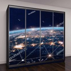 """Шкаф купе с фотопечатью """"сеть Интернет, изображение из космоса"""""""