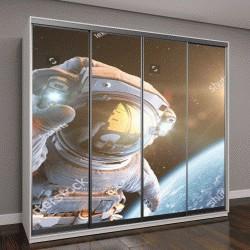 """Шкаф купе с фотопечатью """"Космонавт в открытом космосе, 3D визуализация"""""""