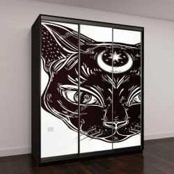 """Шкаф купе с фотопечатью """"Черная кошка голова портрет с Луной"""""""