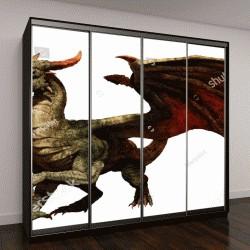 """Шкаф купе с фотопечатью """"Зеленый дракон 3D иллюстрация"""""""