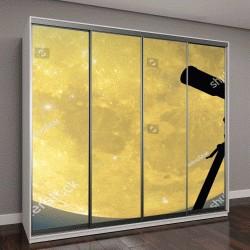 """Шкаф купе с фотопечатью """"Силуэт телескопа с полной Луны и звезд"""""""